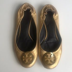Tory Burch Gold Distressed Leather Reva Flats